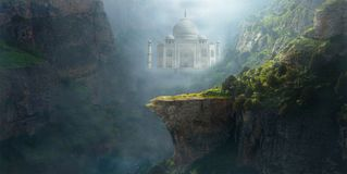 Fantasy Mountain Landscape, Background, Taj Mahal. Fantasy dream landscape background. A cliff, mountains and Taj Mahal are in this abstract concept surreal royalty free stock images