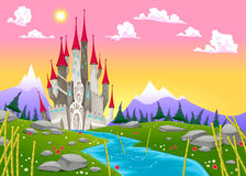 Fantasy mountain landscape with medieval castle royalty free illustration