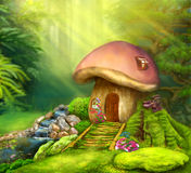 Fantasy mushroom cottage house on a colorful meadow Royalty Free Stock Photography