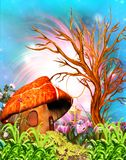 Fantasy Mushroom House. 3D illustration of a fantasy mushroom house by the dead tree vector illustration