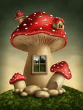 Fantasy mushroom house. In the forest royalty free illustration