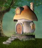 Fantasy mushroom house in a green meadow. Fantasy mushroom house by a tree in a green meadow - 3D illustration royalty free illustration