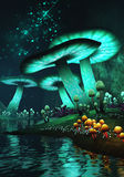 Fantasy mushrooms. 3D rendered image of glow in the dark fantasy mushrooms royalty free illustration