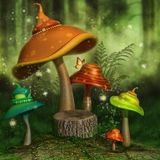 Fantasy mushrooms in a forest Royalty Free Stock Image