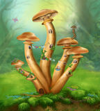 Fantasy Mushrooms honey agarics the house on a colorful meadow Stock Photos