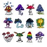 Fantasy mushrooms icons Royalty Free Stock Image