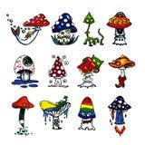Fantasy mushrooms icons Royalty Free Stock Photography