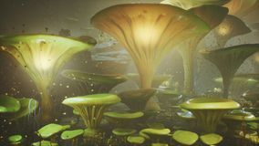 Fantasy mushrooms in a magic forest. Beautiful magic mushrooms in the lost forest and fireflies on the background with. The fog vector illustration