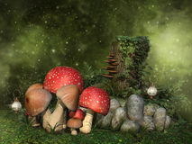 Fantasy mushrooms, rocks and ivy Royalty Free Stock Photos