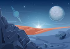 Fantasy mystery alien landscape, another planet nature with rocks and planets in sky. Game design vector galaxy space. Fantasy alien landscape, another planet stock illustration
