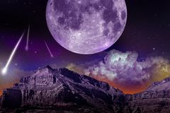 Fantasy NIght. Abstract Earth-Space Composition with Large Moon and Comets / Asteroids. Dark Violet Theme. Abstract Illustration Stock Image