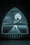 Fantasy night archway. Magic night scenery through stone archway Stock Photography