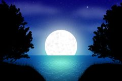 Fantasy night landscape illustration with silhouettes. royalty free illustration