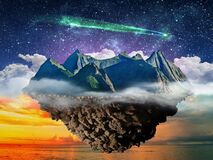 Free Fantasy Night Lanscape, Mountain Island Floating Above Sea  And Starry Sky With Comet Royalty Free Stock Photos - 190324968
