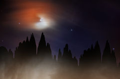 Fantasy night mountains Stock Photography