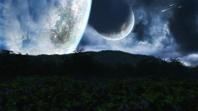 Fantasy Night Scenery. Night sky with clouds, planets, birds and shooting stars Stock Photos
