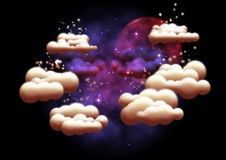 Fantasy night sky. A computer illustration of a fantasy night sky with clouds