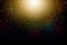 Fantasy night sky. With yellow stars and nebula Stock Photography