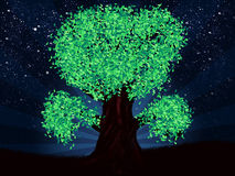 Fantasy night tree of green color Royalty Free Stock Images