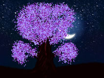 Fantasy night tree of violet color Royalty Free Stock Images