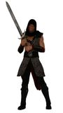 Fantasy nubian warrior. Rendered hooded  ethnic african warrior in chainmail brandishing sword Royalty Free Stock Photography