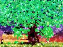 Fantasy oak tree with ravens Royalty Free Stock Photography