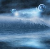 Fantasy Ocean. Fantasy illustration of an ocean shore with planets in the night sky. (Moon credit: NASA Royalty Free Stock Photos