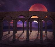 Fantasy old temple in the desert Royalty Free Stock Photos