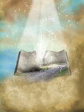 Fantasy open book. With landscape and glitter in the sky Royalty Free Stock Image