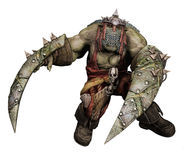 Fantasy orc warrior with shields. 3D render of a fantasy orc warrior with long shields Stock Image