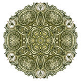 Fantasy ornament done in kaleidoscopic style. Geometric circle. Royalty Free Stock Photo