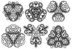 Fantasy ornaments 1. Set of fantasy style design elements Stock Image