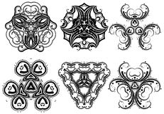 Fantasy ornaments 5. Set of fantasy style design elements Royalty Free Stock Images