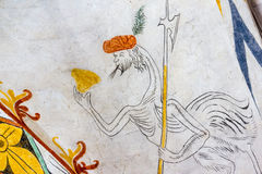 Fantasy ostrich, with an human head and an halberd, medieval fre Stock Image
