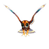 Fantasy owl with rainbow colors. 3D rendering Stock Photos