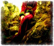 Fantasy painting of a fairy woman forest,  Hand Royalty Free Stock Photos