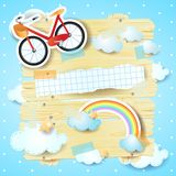 Fantasy panel with bike and copy space Royalty Free Stock Image