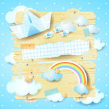 Fantasy panel with paper boat and rainbow Stock Image