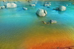 Fantasy Paradise River. A surreal stream heading into the beach Stock Photography