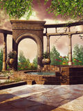 Fantasy patio with a pool Royalty Free Stock Photo