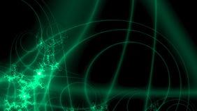 Fantasy pattern for decoration design. Digital technology design in neon green fractals on black background. Pattern for decoration design. Digital technology stock illustration