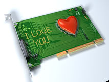 Fantasy PCI board for love. Futuristic and conceptual 3d illustration Royalty Free Stock Image