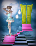 Fantasy performer on stairs Stock Image