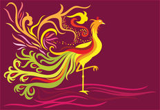 Fantasy phoenix. A decorative phoenix with feather flowing high and in flame facing the right side vector illustration