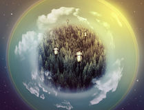 Fantasy picture with a green planet Stock Photography