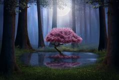 Fantasy pink tree in the forest stock illustration