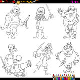 Fantasy pirates cartoon coloring page Stock Photos