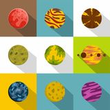 Fantasy planet icon set, flat style. Fantasy planet icon set. Flat style set of 9 fantasy planet vector icons for web design Stock Photography