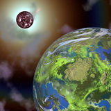 Fantasy planet and sun in space stock illustration