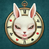 Fantasy  Pocket Watch. Fantasy illustration with a pocket watch Wonderland and head mask bunny girl. Computer graphics Royalty Free Stock Photography